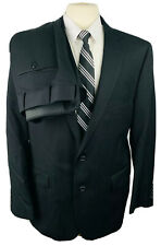 Stafford Mens 44R Solid Black Wool 2 Piece Suit With Dress Pants 38Wx29L
