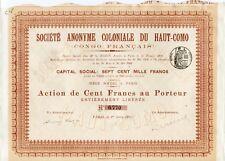 Congo Français époque Coloniale - Action de 100 F Coloniale du Haut-Como de 1904