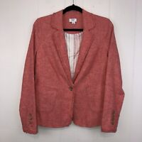 Crown And Ivy Women's Linen Blend Blazer Jacket Red Size 2 NWT