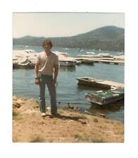 Vintage Photo Handsome Young Man, Tight Jeans, Lake, 1980's, Apl17