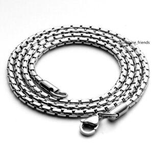 2mm/3mm Schlangenkette Massiv Edelstahl Damen Herren Rolo Halskette 50-70 cm