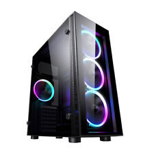 PC COMPUTER ATX TOWER CASE GAMING GLASS 3 X RGB RAINBOW FAN iONZ KZ02
