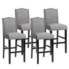 "Set of 4 Bar Stools 30"" Upholstered Kitchen Breakfast Nailhead Bar Chairs Gray"