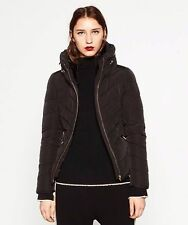 ZARA BLACK SHORT QUILTED ANORAK PUFFER JACKET WITH HIDDEN HOOD SIZE SMALL
