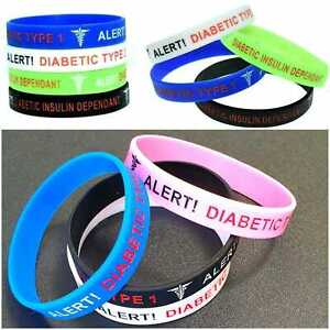 Diabetic Medical Alert Bracelet Insulin Type 1 Type 2 Diabetes Survival Silicone