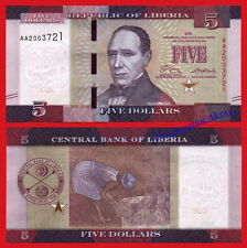 LIBERIA 5 Dollars dolares 2016 (2017) Pick NEW Serial AA SC / UNC