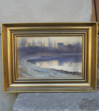 Purple dawn. House by the River. Impressionist. Signed and dated 1891.