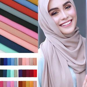 Womens Chiffon Scarf Muffler Muslim Hijab Head Scarves Wrap Shawl Ladies Soft AU