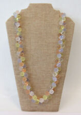 """VTG 1960s MOD SIGNED MONET WISTERIA LUCITE BEAD BUBBLE NECKLACE 33 3/4"""" FROSTED"""