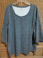 Catherines Womens Plus 2X (22/24w) Blue Mixed Color  Shirt