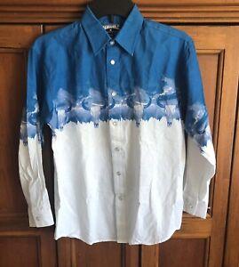 Boys Panhandle Blue White Pearl Snap Western Shirt Longhorn  Sz L/14