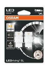 Osram LED WY21W Amber Yellow Indicator Bulbs 12v (582 Wedge WY21W) 7504DYP-02B