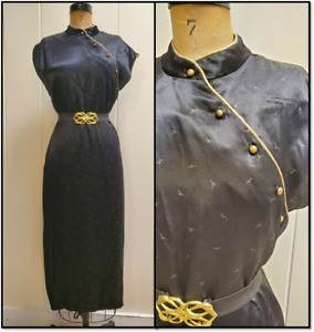 Vintage 70s Black silk Cheongsam with gold lame' piping Birds in fabric M L 11