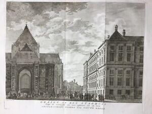 Amsterdam Netherlands 1766 Palace Nieuwe Kerk de Beijer, by Tirion, antique view