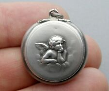 French, Antique Religious Sterling Pendant. Cherub, Rosary Box. Silver Medal.