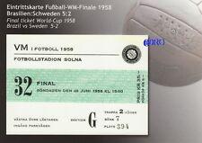 Original Endspielticket WM 1958 in Schweden + TOP-Repro