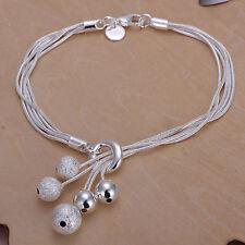 Unisex Women's 925 Sterling Silver Beads Bracelet Adjustable Size L12