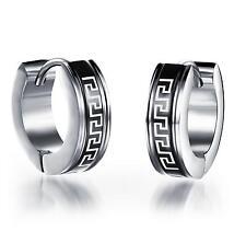 pair titanium Steel Mens Hoop Huggie 14mm x 4mm  classic Earring alj0131