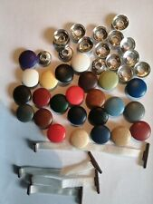10X NO 30 TAPE BACK COVERED UPHOLSTERY BUTTONS 25 COLOURS OF FAUX LEATHER CHOICE