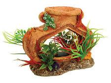 Pot with Airstone & Plants Aquarium Fish Tank Ornament Decoration