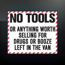 Ningunas herramientas o nada digno de la venta de coche divertido, van seguridad Vinilo calcomanía adhesivo
