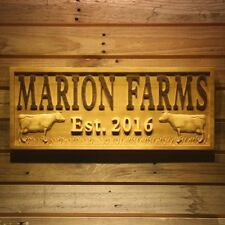 wpa0367 Name Personalized FARM Cows Grass House Gifts Wood Engraved Wooden Sign