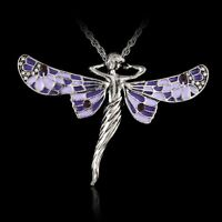 Fashion Silver Dragonfly Angel Pendant Necklace Sweater Chain Women Jewellery