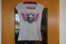 T-Shirt Kurzarm Damen Gr. XS 34 graumeliert Rundhals Totenkopf pink Tour Shirt