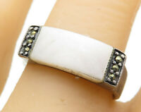 925 Sterling Silver - Vintage Opal & Marcasite Accent Band Ring Sz 8 - R6738