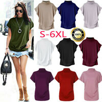 Summer Womens Casual  Short Sleeve Solid T Shirt Blouse Tunic Tops Plus S-6XL Y