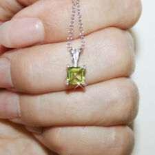 Princess Cut Peridot 7mm Pendant Necklace 14k White Gold over 925 SS 18 Inch