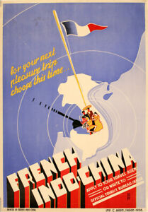 French Indo China Travel Poster 1938 by Lai
