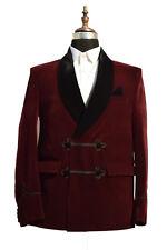 Men Burgundy Smoking Jacket Elegant Luxury Designer Party Wear Blazers Coat