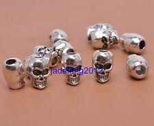20pcs Tibetan Silver Skull 3mm Hole Beads Fit Charm Bracelet C3204