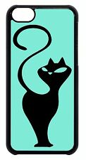 iPhone 4 4s 5 5s 5c 6 Case Cover Cat in Teal Silhouette Art Cats Kitten