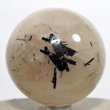 "2.3"" Black Tourmaline in Quartz Sphere Tourmalated Crystal Mineral Stone - India"