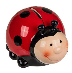 Keramik Spardose Marienkäfer mit Schloß Kinder Sparschwein Käfer rot schwarz süß