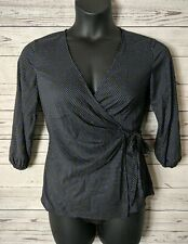 Ann Taylor Sz 2 Black White Blue Polka Dot Wrap 3/4 Sleeve Top