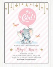 Elephant Baby Shower Invitation Pink Gold Girl Party Invite Twinkle Little Star