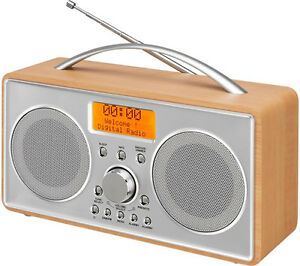 DAB/DAB+/FM Radio Portable Clock Radio LCD Display L55DAB15 Silver / Wood**