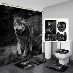 Lone Wolf Grey Black Shower Curtain Bath Mat Toilet Cover Rug Bathroom Decor