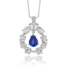 Natural Blue Sapphire 2.00 carats set in 18K White Gold Necklace