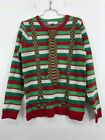 Jolly Sweaters Mens Ugly Christmas Tie Suspenders Pullover Green 100% Acrylic L