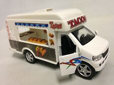 "Fast Food Truck, TACOS, 5"" Die Cast Pull Back and Go, Toys Boys and Girls White"