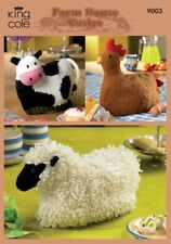 King Cole Knitting Pattern Cow, Hen, Sheep Cosies in Merino Blend DK 9003