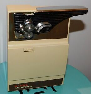 Rival Electric Can Opener # 781 vintage Retro Click N Clean Beige Hidden Cord