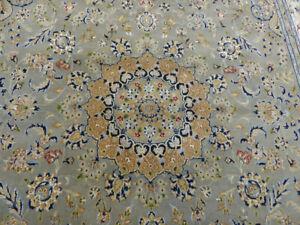 "7'8""x10'5 New Luxurious Wool Silk Fine Handmade 200+ KPSI Nain Oriental Gray Rug"