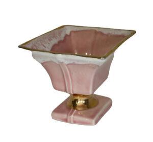Vintage Shafer Pink Flower Planter 23K Gold Trim & Ring on Base MCM