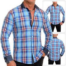 Men's Lumberjack Checked Shirt Casual Denim Collar Cuffs Cyan Blue Slim Fit UK