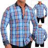 Men's Lumberjack Checkered Shirt Casual Denim Collar Cuffs Cyan Blue Slim Fit UK